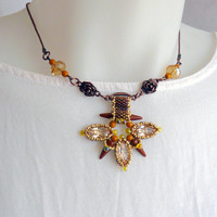 Beaded pendant with spikes, beadwork handmade pendant, beaded in fall colors