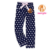 Custom Embroidered Monogrammed NAVY POLKA DOT Flannel Pants - Teen Youth print Party Gift Navy White Dots Personalized