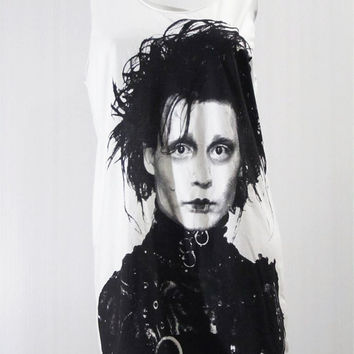 JOHNNY DEPP Edward Scissorhands 1990 Movie White Tank Top Women T-Shirt Tunic Top Singlet Sleeveless Vest Top Johnny Depp T-Shirt Size S M