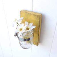 Yellow vase wooden cottage decor wall distressed - single