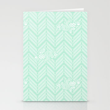 Pastel Mint Chevron Floral Stationery Cards by BeautifulHomes