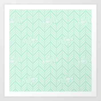 Pastel Mint Chevron Floral Art Print by BeautifulHomes