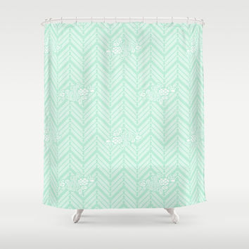 Pastel Mint Chevron Floral Shower Curtain by BeautifulHomes