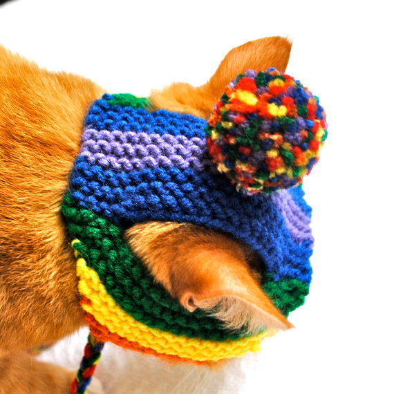Pom Pom Cat Hat - Rainbow (READY TO SHIP)