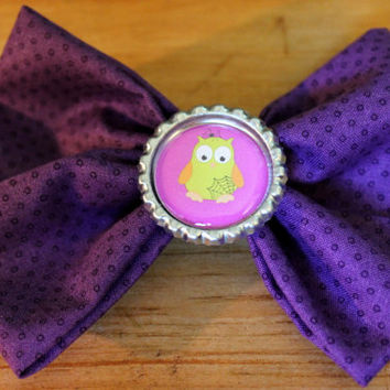 "SALE Owl purple hair bow clip,4"" bow with owl bottle cap, alligator clip"