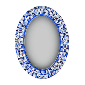 Mosaic Mirror in Blues and Whites Oval Wall Decor