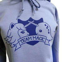 Narwhal Unicorn Hoodie - TEAM MAGIC Hooded Sweatshirt - Unisex Sizes S, M, L, XL