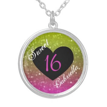Personalized: Yellow And Pink Sweet 16 Necklace