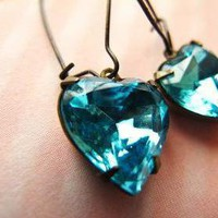 Aqua Heart Rhinestone Dangle Earrin.. on Luulla