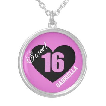 Personalized: Pink and Black Sweet 16 Necklace