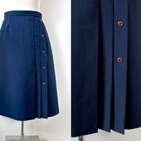 Dark Blue Midi Skirt With Berry Colour Buttons - Pleated Skirt - Vintage Skirt - Made in Canada Union Label - Women Skirt UK