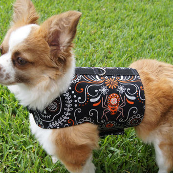 Black Skull and Spider Halloween Dog Harness (Medium)
