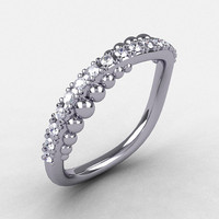 18K White Gold Cubic Zirconia Pearl and Vine Wedding Band, Engagement Ring NN115-18KWGCZ
