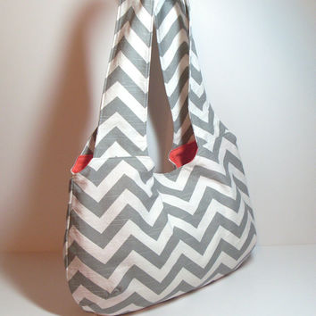 Gray Hobo Purse Bag, Customize Hobo Bag, Chevron Hobo Bag, Gray Hobo Purse, Shoulder Bag, Shoulder Hobo Bag, Chevron Purse, Large Purse Bag