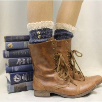 SLX1BL NORDIC LACE in Vintage Blues Tweed Slouch Boot Socks