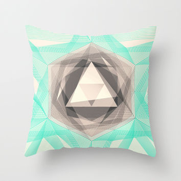 Jewel Lines 2 - Jade & Charcoal Throw Pillow by micklyn