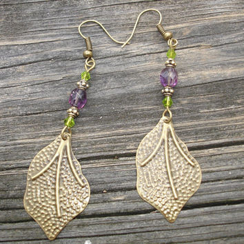 Purple earrings in Austrian and fire polished crystals with antiqued bronze leaf drops