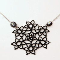 black floral necklace, black, white, gold, lace necklace, handmade by TheScarletLace, OOAK