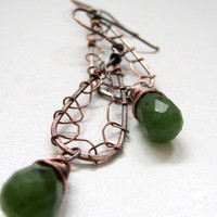 Green jade copper earrings