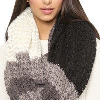 Paula Bianco Chunky Knit Color Block Wrap Scarf