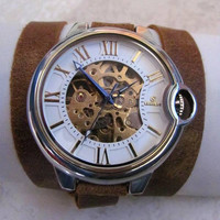 Gold wristwatch Skeleton Rome AUTO Mechanical Watch  20% Off - 79 Dollars Only  Free Shipping.