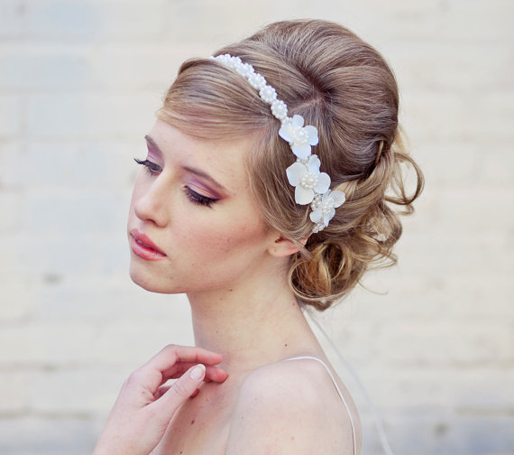 wedding hair, Pearl tie headband for weddings with ivory flowers, wedding tiara