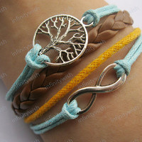 Karma-wish tree bracelet,infinity bracelet,wax cords bracelet,braid leather bracelet-Z222