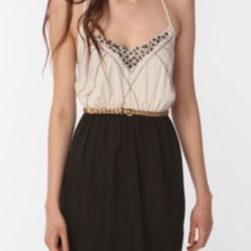 Ecote Embellished Strappy Silky Dress