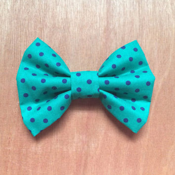 Teal and Navy Polka Dot Bow hair bow girl women children