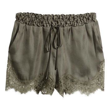 H M  Satin Shorts with Lace  Khaki green  Ladies