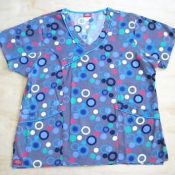 DICKIES SCRUB TOP size (L) 2 POCKETS IN GREY COLOR BUBBLE / CIRCLES