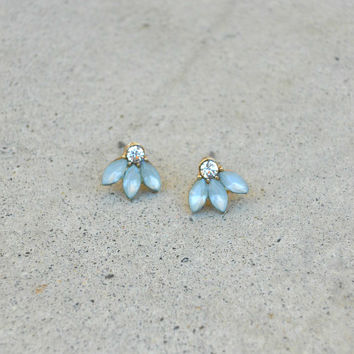 Green Thistle & Sparkle Earrings [5907] - $9.00 : Vintage Inspired Clothing & Affordable Dresses, deloom | Modern. Vintage. Crafted.