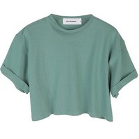 Style Nanda Womens Sleeves Roll-Up Crop Top