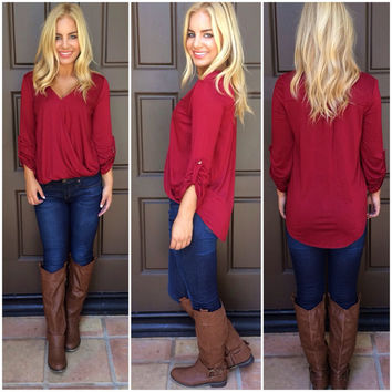 At Last Jersey Wrap Top - BURGUNDY
