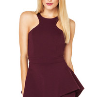 Peplum Romper in Wine