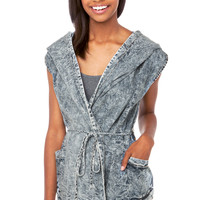 Oversized Denim Hooded Vest in Blue Acid