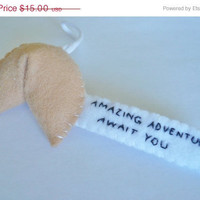 Christmas in July 20% OFF Embroidered fortune cookie ornament - amazing adventures await you - Christmas tree decoration