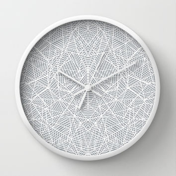 Abstract Lace on Grey Wall Clock by Project M | Society6
