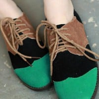 Green Vintage PU Corrected Grain Leather Suede Flat Pumps - Sheinside.com