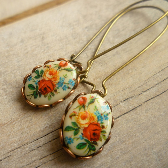 Vintage Bouquet Earrings ... Fifties Colourful Roses Floral English Garden Party