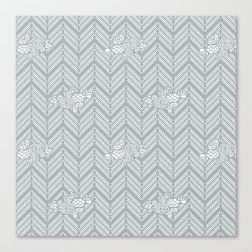 Pastel Gray Chevron Floral Stretched Canvas by BeautifulHomes