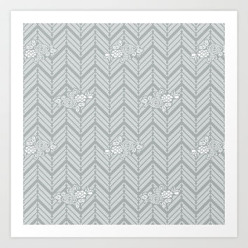 Pastel Gray Chevron Floral Art Print by BeautifulHomes