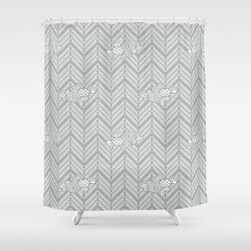 Pastel Gray Chevron Floral Shower Curtain by BeautifulHomes