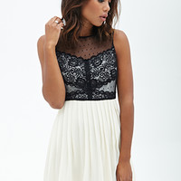 FOREVER 21 Lacy Accordion Pleated Dress Cream/Black