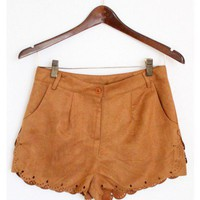 Faux Suede Scallop Trim Shorts