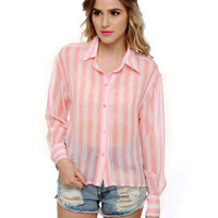 Cute Striped Top - High Low Top  - Button Up Top