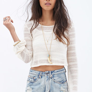 Open-Knit Crop Top