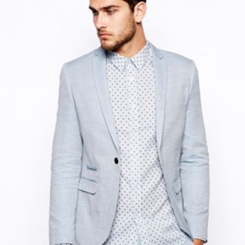 Selected Suit Jacket In Chambray