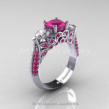 Art Masters Classic 14K White Gold Three Stone Pink and White Sapphire Solitaire Ring R200-14KWGWSPS