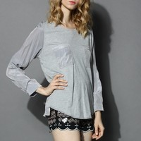 Simple Grey Top with Patched Pockets Grey S/M